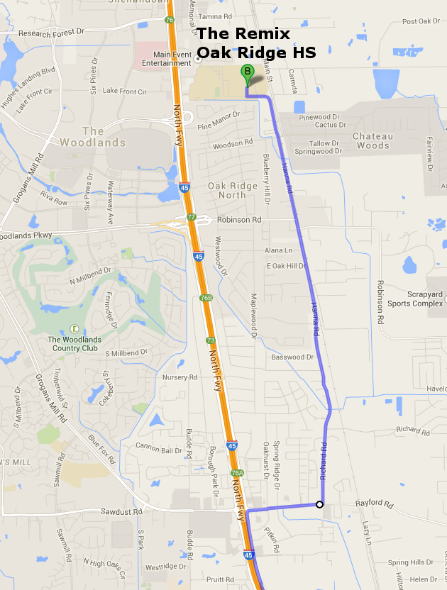 Map to ORHS with I-45 Closure (South)