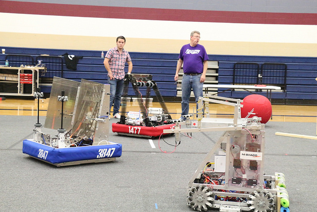 All three robots in the middle of practice.