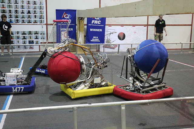 FRC 118 passes the ball to our robot, completing the assist.