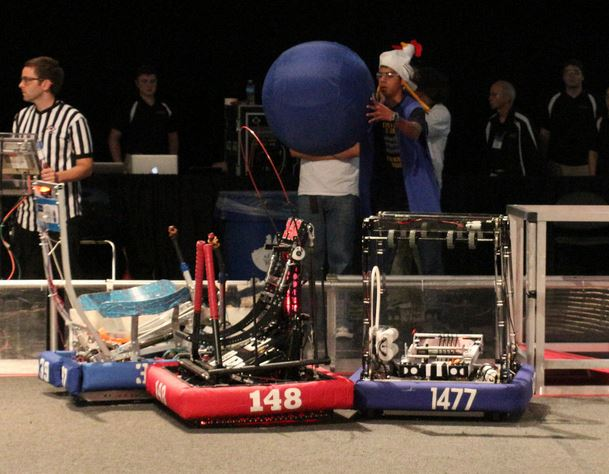 Torque fights past FRC 148, the Robowranglers, for the ball.